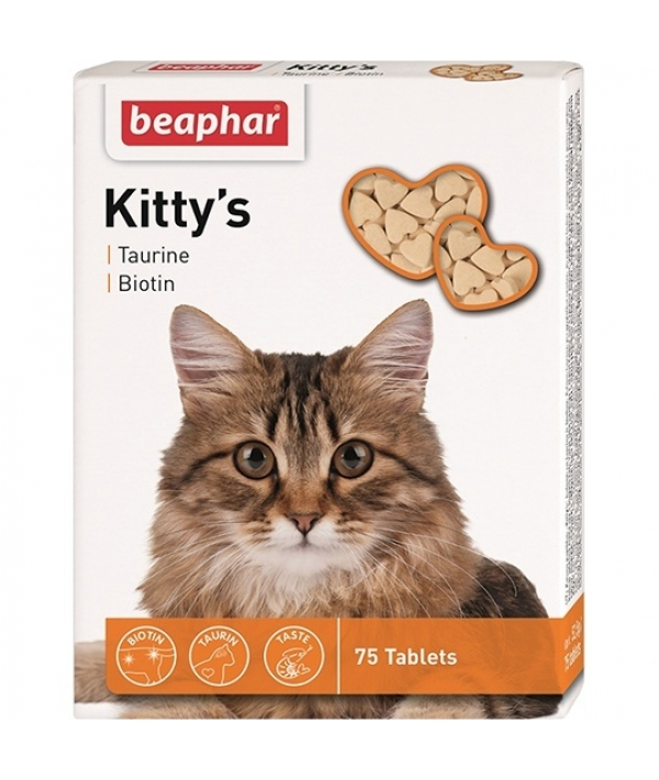 Витамины д/кошек с таурином и биотином, сердечки (Kitty's Taurine + Biotin), 75шт. (12509)