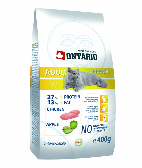 Для домашних кошек с цыпленком (ONTARIO Adult Indoor 0,4kg) 213 – 0044