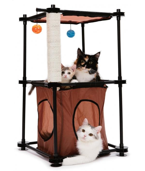 """Игровой комплекс с когтеточкой для кошек: Биг Бен. """"Tower"""": 79*45*45см, сизаль (PL0301)"""