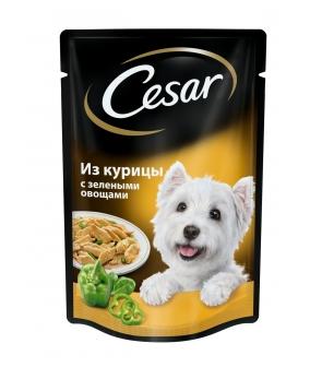 Паучи для собак из курицы с зелеными овощами 7482