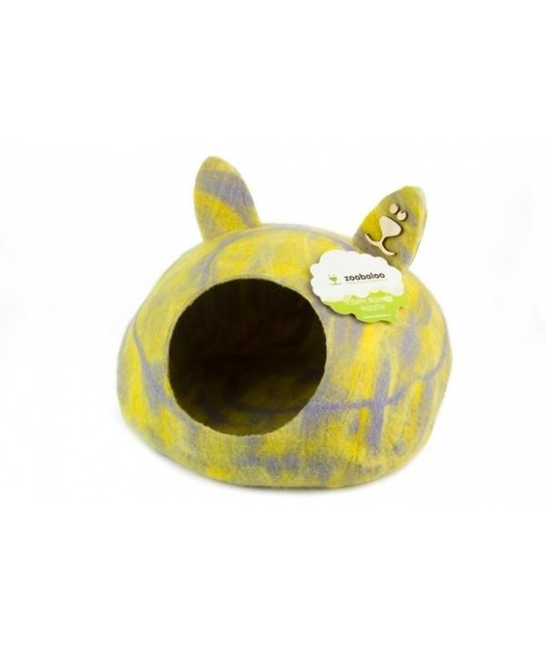 """Домик """"Уютное гнездышко"""" с ушками (шерсть, форма круг, мультиколор желтый) L: 40x40x20см (971)"""
