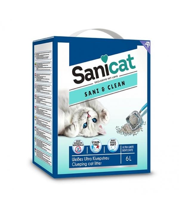 Комкующийся белый наполнитель с ароматом детской присыпки (Sani&Clean 6l) PSANCLBP006L31