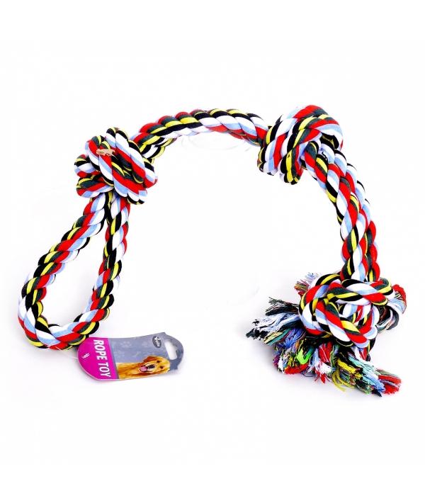 """Игрушка для собак """"Веревка Двойная с 3 узлами"""", хлопок, 60см (Cotton flossy toy double 3 knots) 140748"""