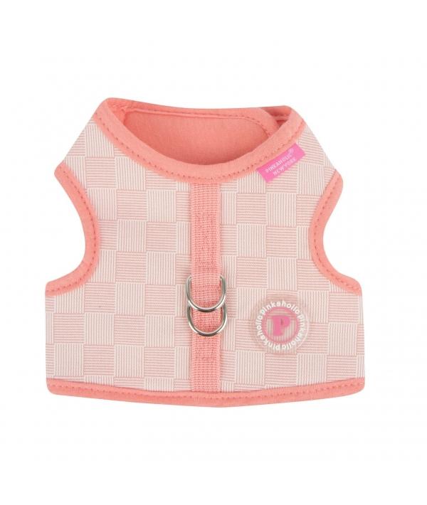 Жилет – шлейка с шахматным узором, размер S (обхват шеи 20см, обхват груди 30см, длина по спине 10,5см), розовый (CLEMENT PINKA HARNESS/PINK/S) NARA – HJ7320 – PK – S