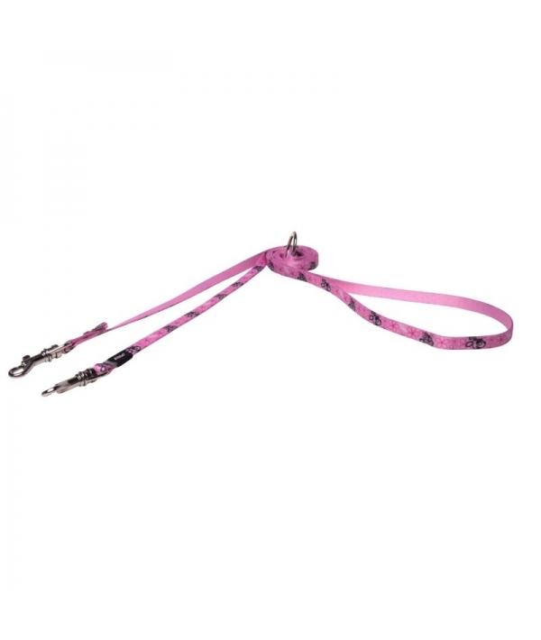 Поводок – перестежка для щенков, размер XS, ширина 8мм, длина 1,1 – 1,4 – 1,8м, розовый (MULTI PURPOSE LEAD) HLM200X