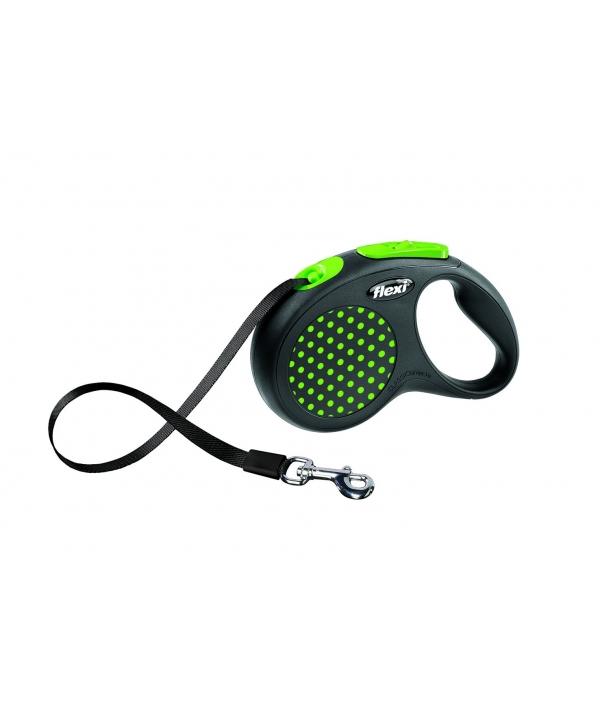 Рулетка – ремень для собак до 15кг, 5м, зеленая (Design S Tape, 5 m, green)