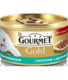 Кусочки в соусе Gourmet Gold с курицей и лососем для кошек – 12109424/12318134