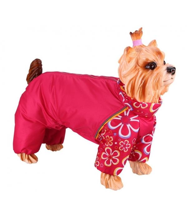 Дождевик Мопс – красный с цветами, девочка, болонья, флис (5615317)