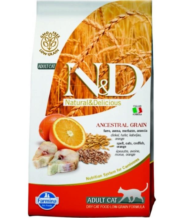 N&D LG Сухой корм для кастрированных кошек с треской и апельсином 4044