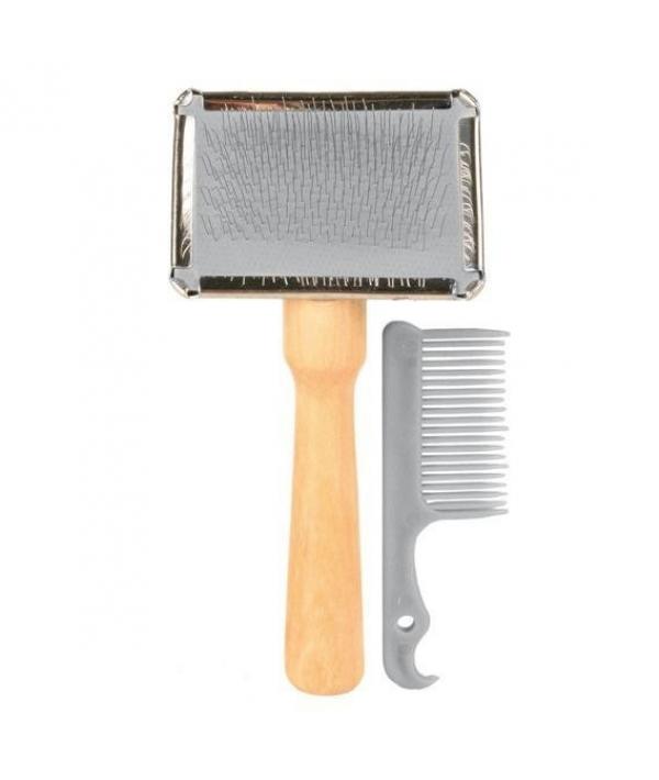 Щетка – пуходерка мягкая 13*6см с деревянной ручкой + расческа – 2353