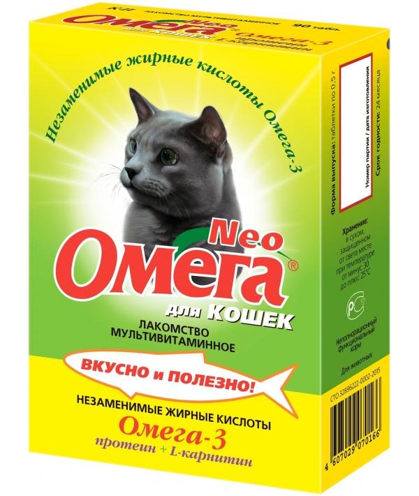 Омега Нео витамины для кошек с протеином и карнитином, 90таб.(13013)