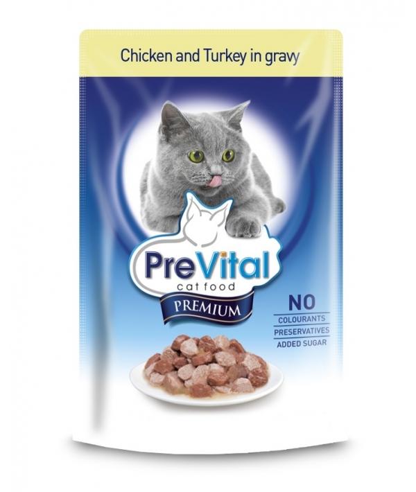 Паучи Премиум в соусе с курицей и индейкой