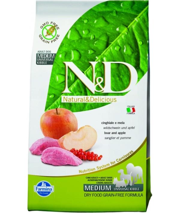 N&D GF Беззерновой корм для собак средних пород с мясом дикого кабана и яблоком 1064