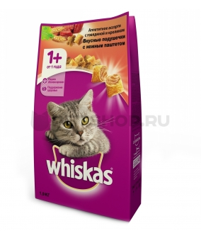 Сухой корм для кошек паштет из говядины и кролика, подушечки 10150204