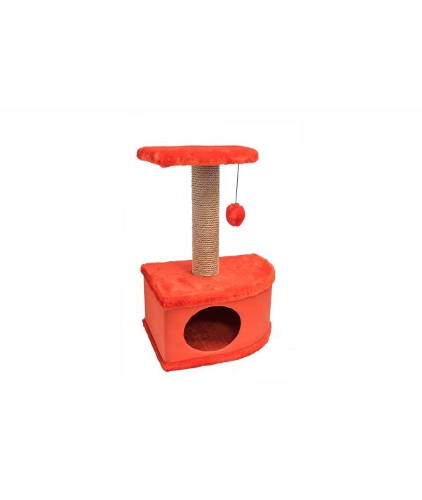 Домик – когтеточка угловой Конфетти красный 49*37*70