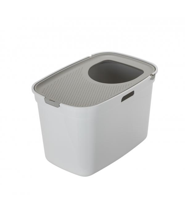 Закрытый туалет для кошек Top cat, белый с теплым серым 59 x 39 x 38 см (White with Warm Gray lid) MOD – AG50 – 0027 – 0000