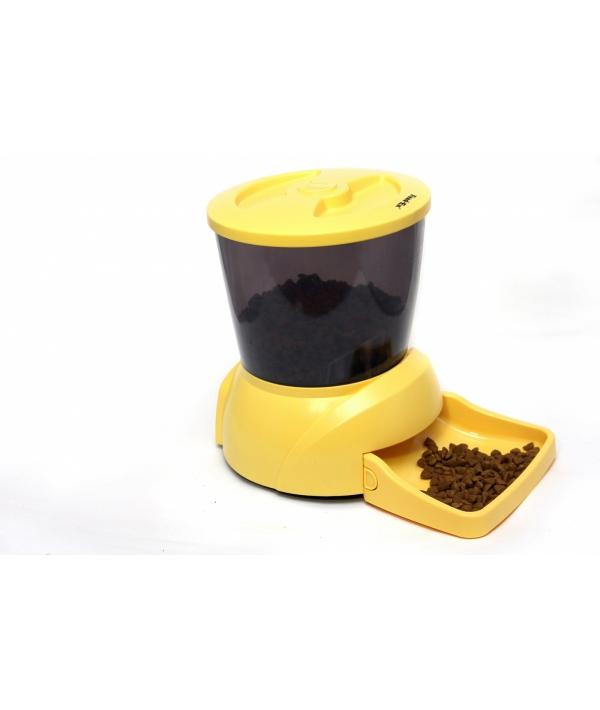 Автокормушка на 2 кг корма для кошек и мелких пород собак желтая PF7Y