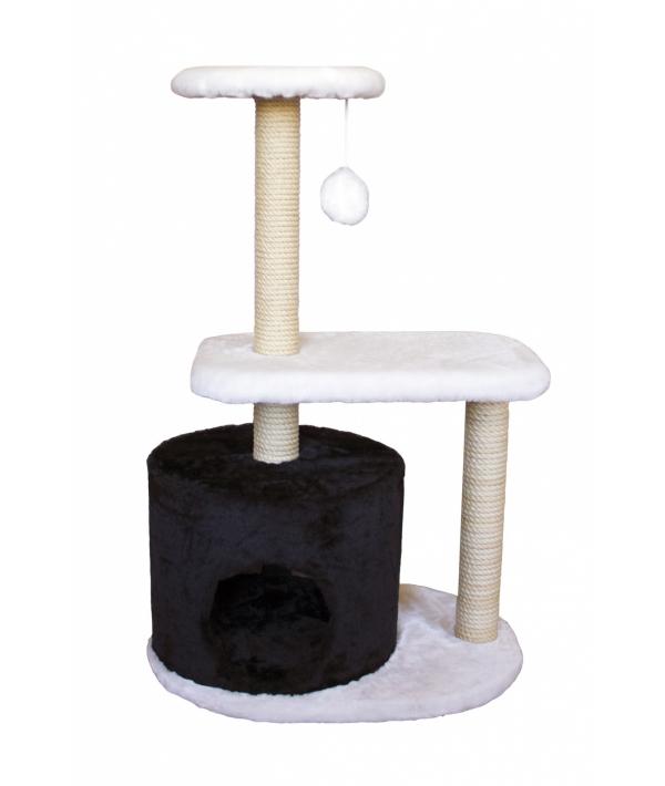Домик – когтеточка Бразилия, черно – белый, 35*55*95, джут РП