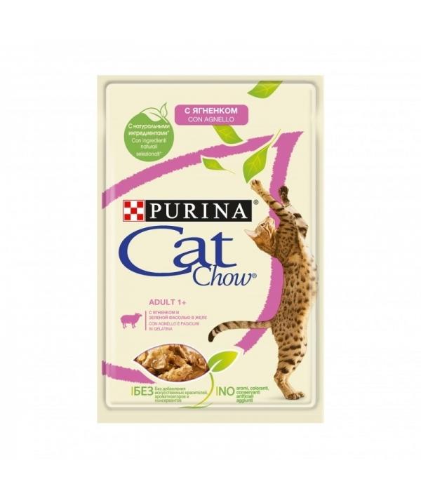 Паучи для кошек Кусочки в желе с ягненком и зеленой фасолью 12349769