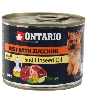 Консервы для собак: говядина и цуккини (ONTARIO Mini Beef, Zuchini, Dandelion and linseed oil 200g) 214 – 2006