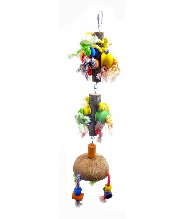 """Игрушка – дразнилка для длиннохвостых попугаев """"Малая Фантазия"""" малая 13*13*80 см (Coco toy xxl for parrot/parrakeet Fantasy) 14216"""