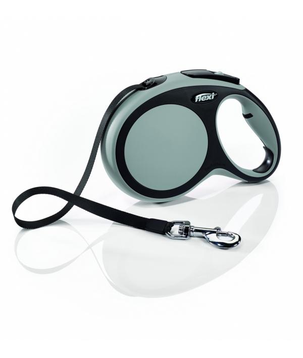 Рулетка – ремень для собак до 15кг, 5м, серая (New Comfort S Tape 5 m, grey)