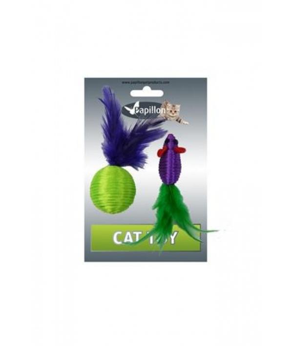 """Игрушка для кошек """"Мышка и мячик с перьями"""" 5+4см, нейлон (Cat toy mouse 5 cm and ball 4 cm with feather on card) 240048"""