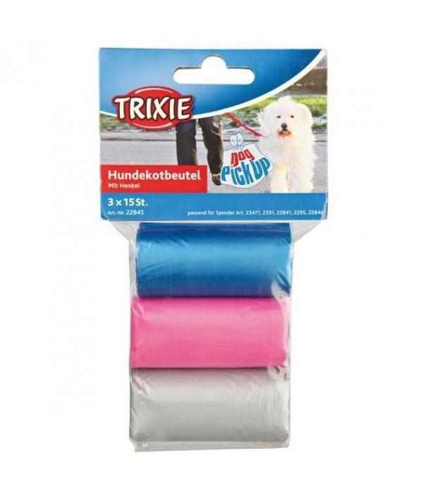 Пакеты для уборки за собаками, 3 л, 3 рулона по 15 шт, цветные 22845