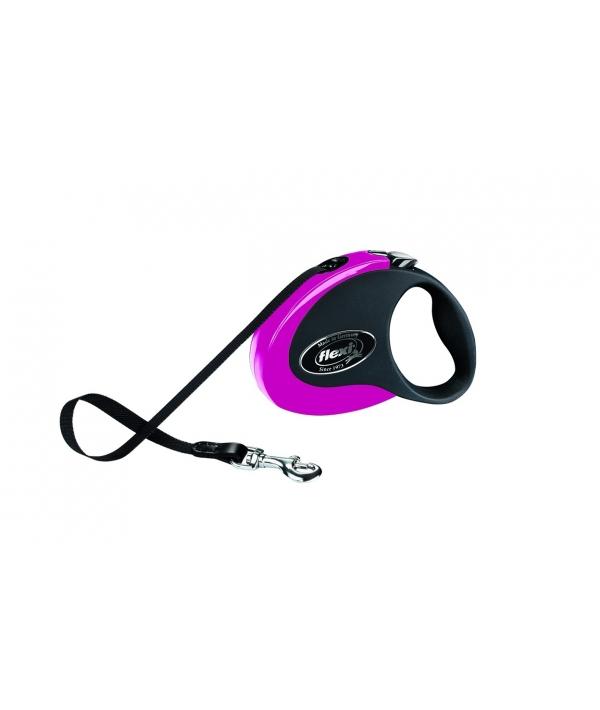 Рулетка – ремень для собак до 12кг, 3м, черно – розовая (Collection S tape 3m black/pink)
