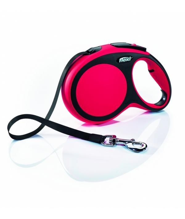 Рулетка – ремень для собак до 15кг, 5м, красная (New Comfort S Tape 5 m, red)