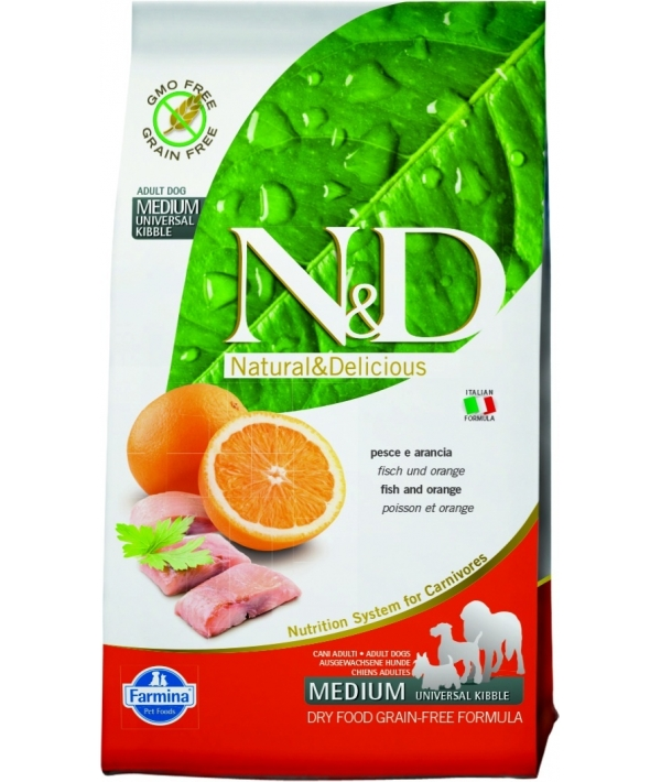 N&D GF Беззерновой корм для собак средних пород с рыбой и апельсином 1052