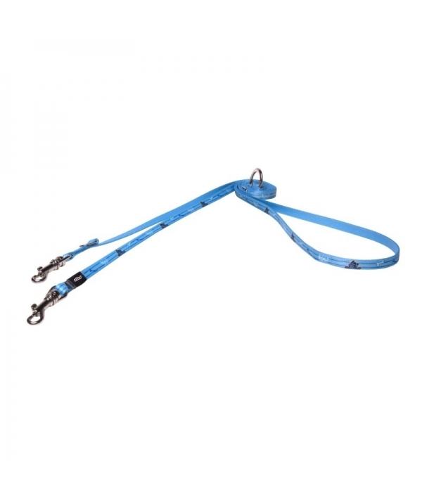 Поводок – перестежка для щенков, размер XS, ширина 8мм, длина 1,4 – 1,4 – 1,8м, голубой (MULTI PURPOSE LEAD) HLM200Y