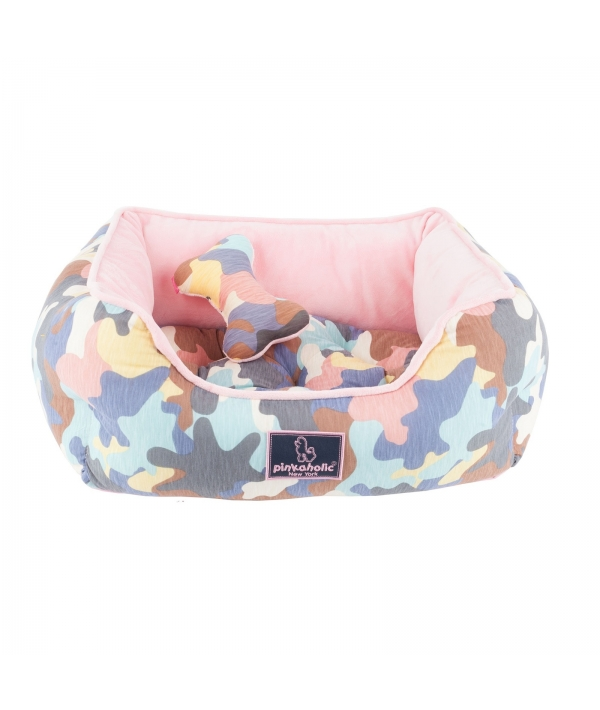 """Кровать – лежанка со съемной подушкой """"Камуфляж"""", розовый (48 х 39 21) (DELTA HOUSE/PINK/FR) NAQA – AU7210 – PK – FR"""