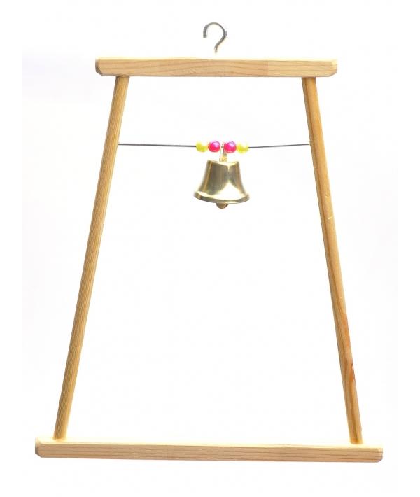 Качели для попугая деревянная большая с бусами и колокольчиком (8543)