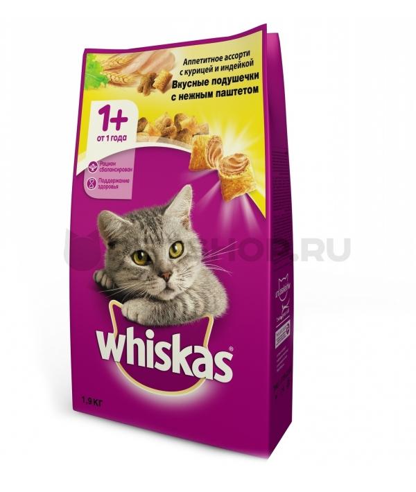 Сухой корм для кошек паштет из куры и индейки, подушечки 10150206