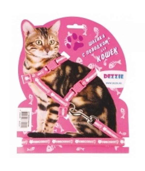 Комплект красного цвета для кошек: шлейка 1*22 – 42см + поводок 1*120см (5609536)