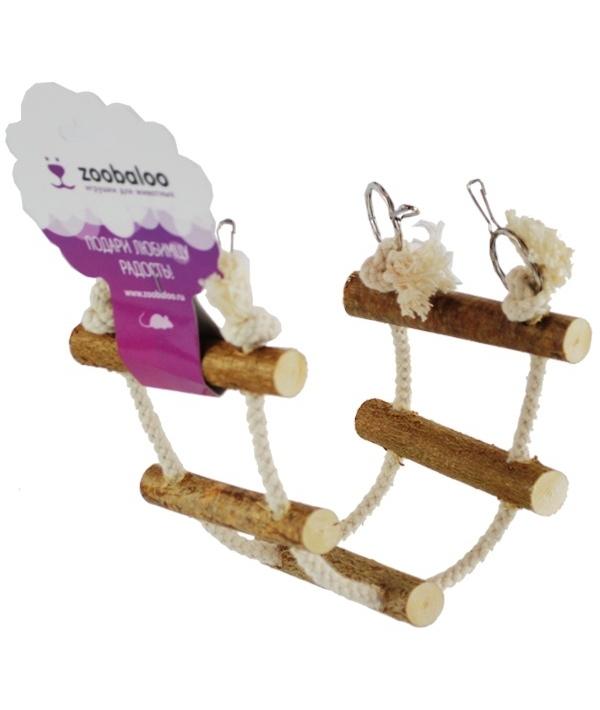 Игрушка для грызунов канатная лесенка c орешником, х/б L: 35х10см (660)