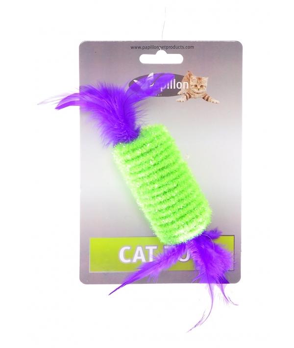 """Игрушка для кошек """"Рулет с перьями"""" 10см (Roller with rattle and feather 10 cm on card) 240049"""