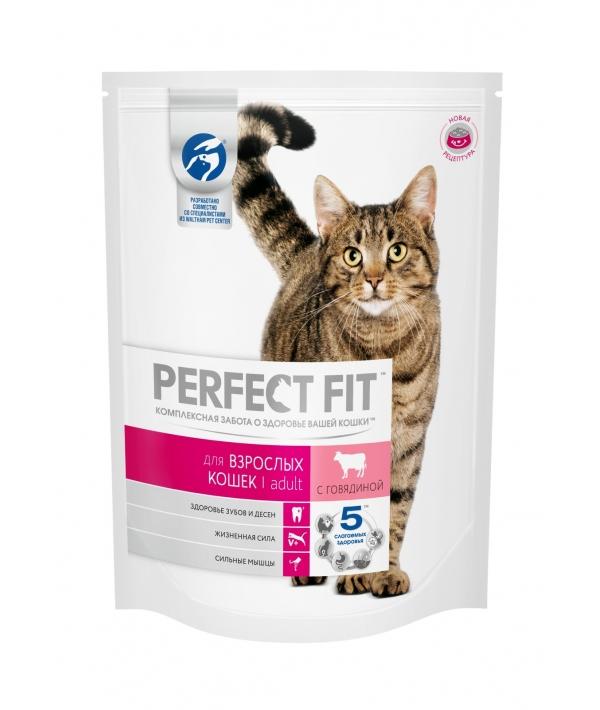 Сухой корм для взрослых кошек, с говядиной (PERFECT FIT Adult Beef 10*650g) 10162225