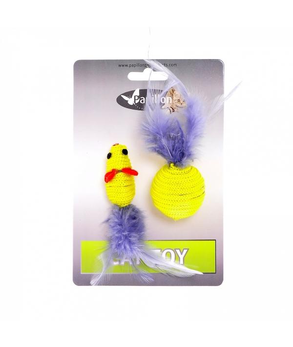 """Мышка и мячик с перьями"" 5+4см желтые (Cat toy mouse 5 cm and ball 4 cm with feather on card) 240065"