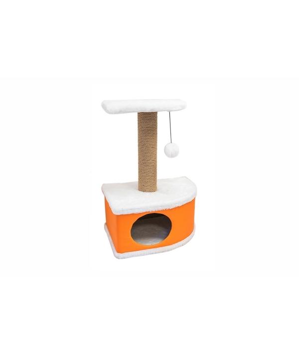 Домик – когтеточка угловой Конфетти оранжевый 49*37*70