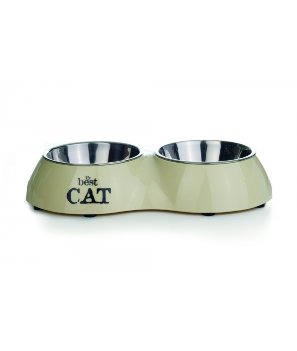 Миска для кошек двойная бежевая 160мл*26,5*15см (650404)24894