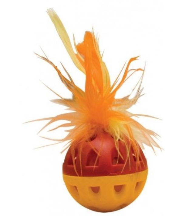 """Игрушка для кошек """"Погремушка малая"""" с перьями 35мм, 1 штука (16459)"""