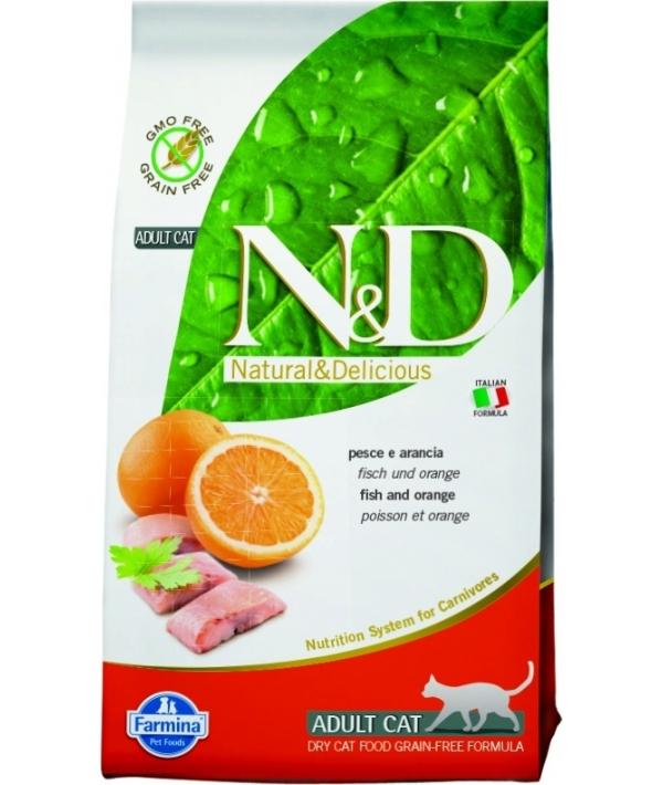 N&D GF Беззерновой корм для взрослых кошек с рыбой и апельсином 1027