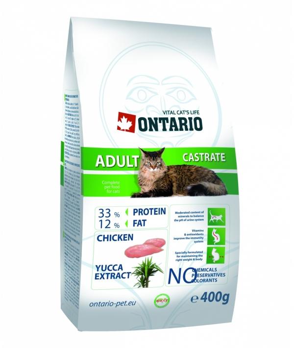 Для кастрированных кошек (ONTARIO Adult Castrate 0,4kg) 213 – 0054