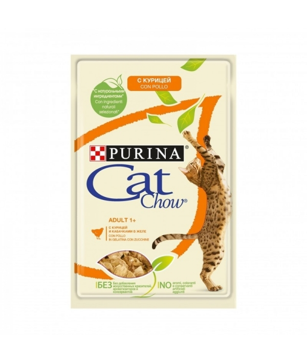 Паучи для кошек Кусочки в желе с курицей и кабачками 12349810