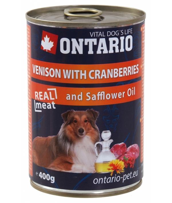 Консервы для собак: оленина и клюква (ONTARIO konzerva Venison,Cranberries,Safflower Oil 400g) 214 – 2192