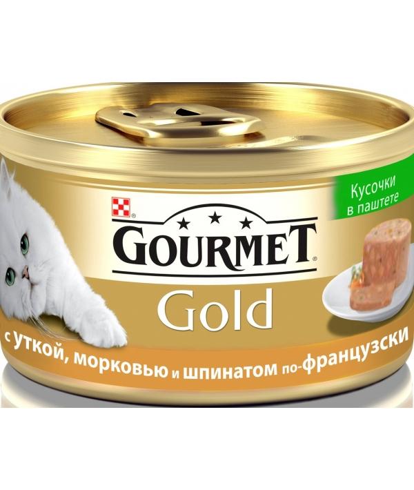 Кусочки в паштете Gourmet Gold с уткой, морковью и шпинатом по – французски для кошек – 12254204/12318157