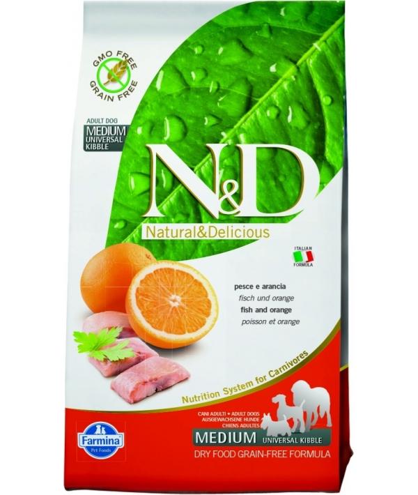 N&D GF Беззерновой корм для собак средних пород с рыбой и апельсином 1062