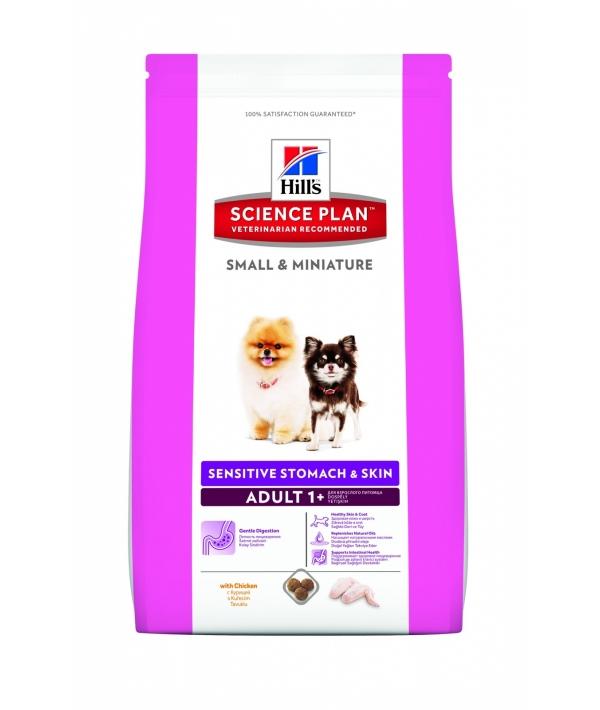 Для взрослых собак малых и миниатюрных пород с чувствительным желудком/кожей, курица(Sensitive Small&Miniature)